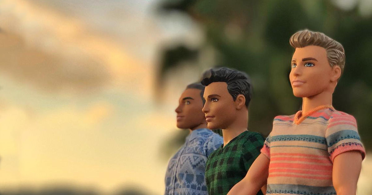 Three ken dolls in front of a picturesque sunset from the instagram parody account that is hitting the nail on the head