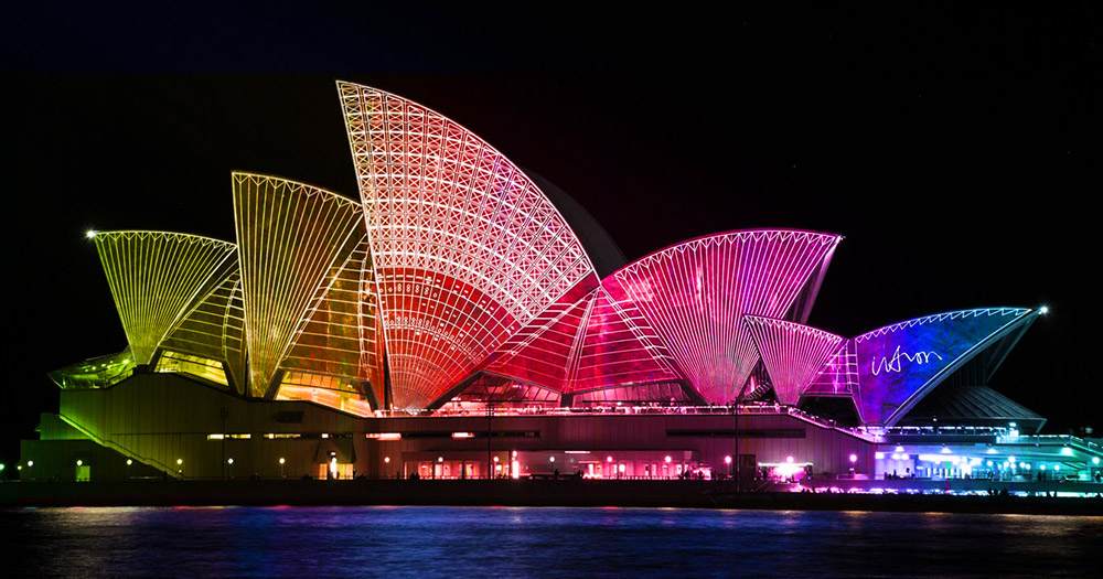 the Sydney Opera House lit up with rainbow colours to symbolise the Irish self-appointed eurovision pundit who is slamming post-gay marriage Ireland