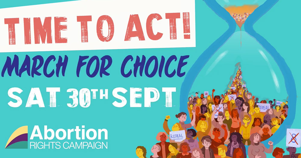 The poster for the 6th March for Choice with an hour glass and people marching holding pro-choice placards