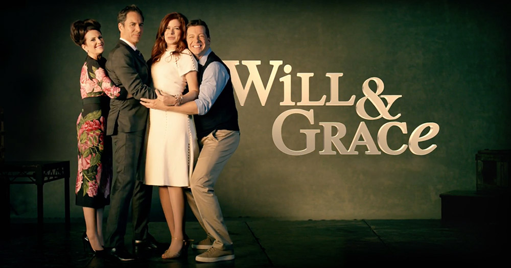 Will & Grace and the other cast of the hit tv show hugging each other beside the words Will & Grace