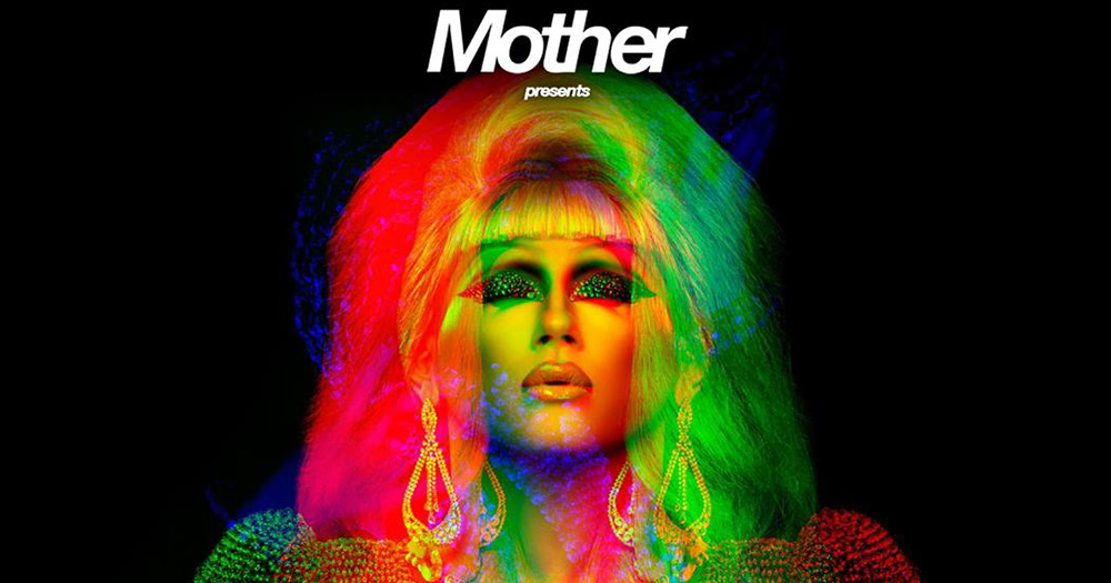 Jodie Harsh in red, yellow and green light, with the word Mother presents above her