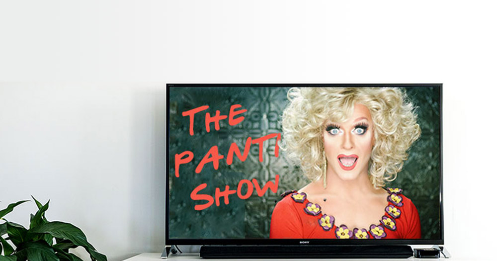 Panti bliss on a tv to represent the upcoming sky atlantic show that's in the works