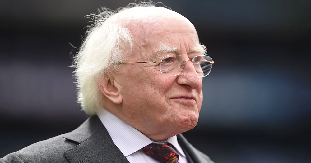 President Michael D Higgins wearing a suit