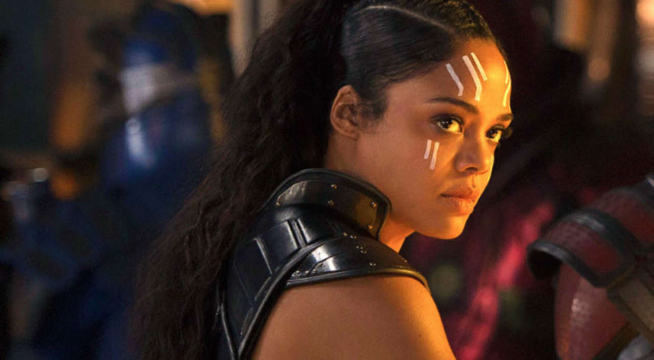 Valkyrie from Thor: Ragnarok is looking sideway