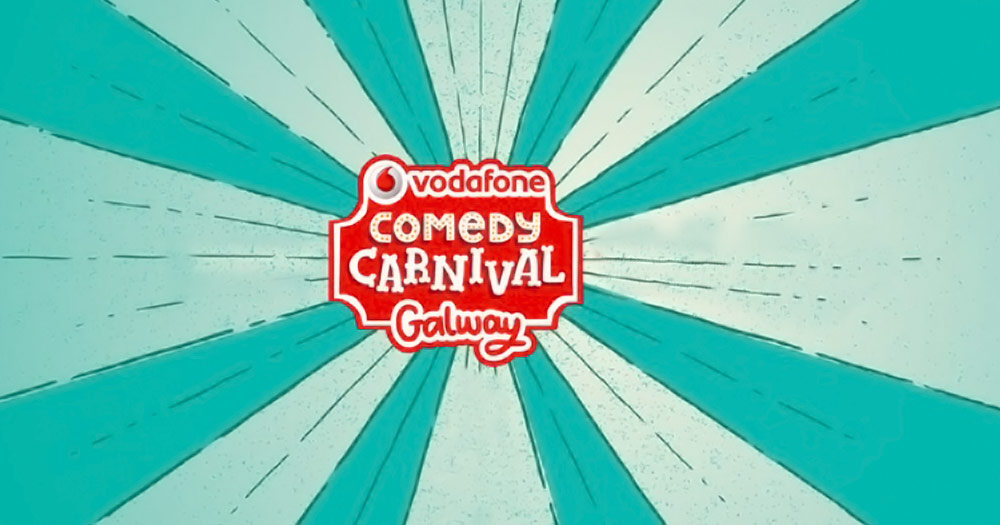 The Vodafone Comedy Carnival Galway logo on a blue background
