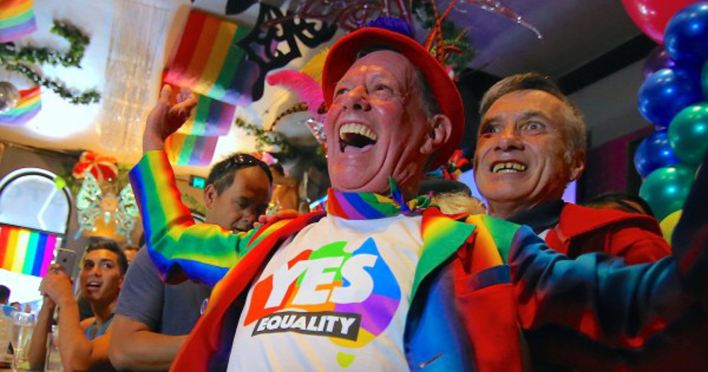 People celebrating the victory of the 'Yes' in the postal survey to allow same-sex marriage