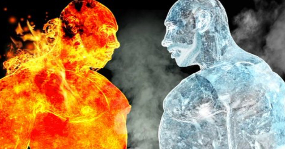 Poster for Dublin bears fire and ice showing a man made of fire and a man made of ice facing each other
