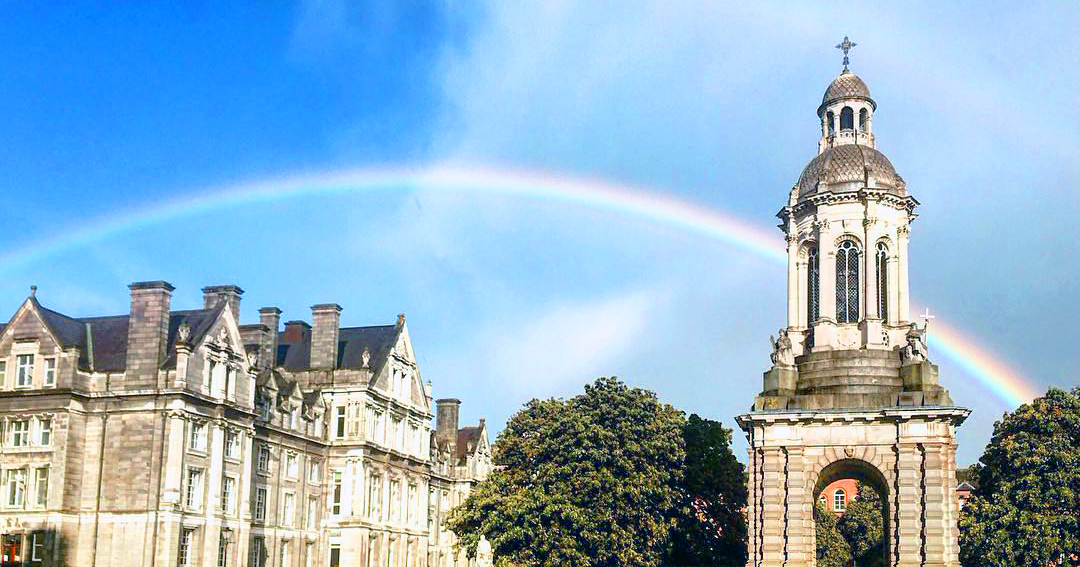 Trinity College on a sunny day, the rainbow over the main building