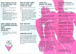Photo of the first ever gay heakth action leaflet detailing how to have safer sex