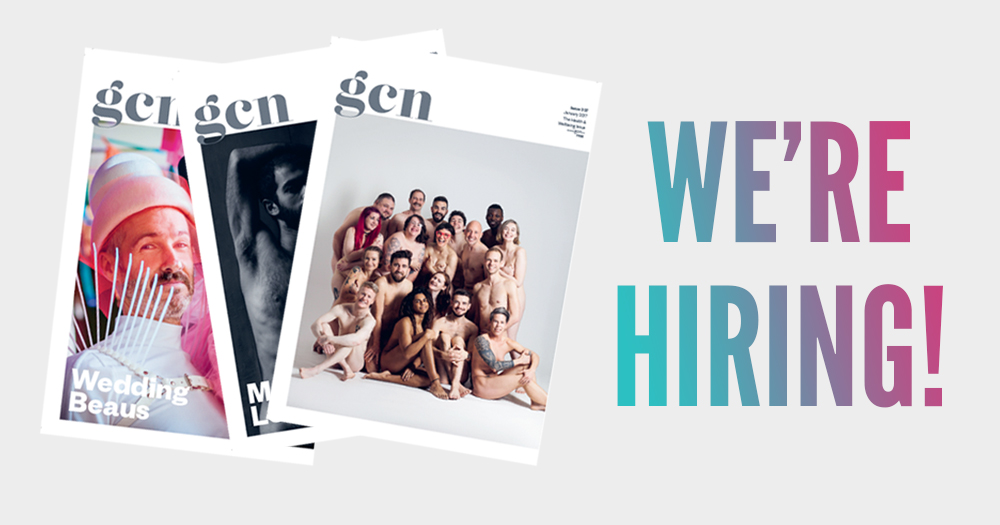 Graphic of the last three magazines on the left and text. We're hiring for sales assistant and distribution manager
