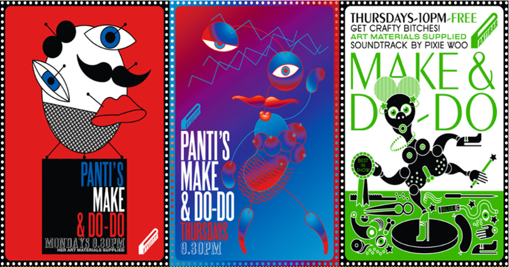 3 iconic posters for the exhibition focused on the artwork for Pantibar