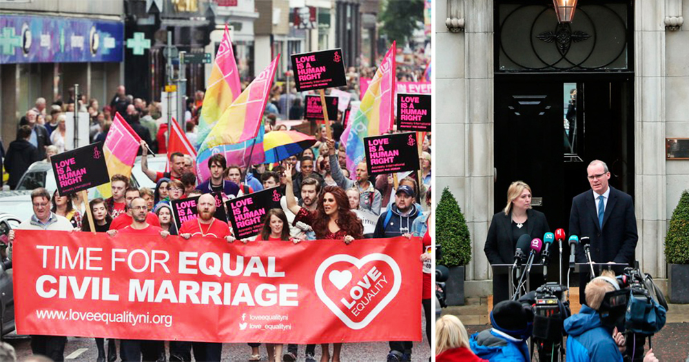 """On the left, love equality campaigners are shown with a banner that reads """"Time for equal civil marriage"""" on the right Karen Bradely and Simon Coveney hold a press conference outside Stormont announcing that talks will resume"""