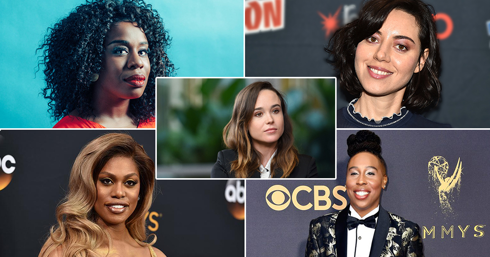 Time's Up Campaigners: Left to Right: Uzo Aduba, Ellen Page, Aubrey Plaza, Laverne Cox, Lena Waithe