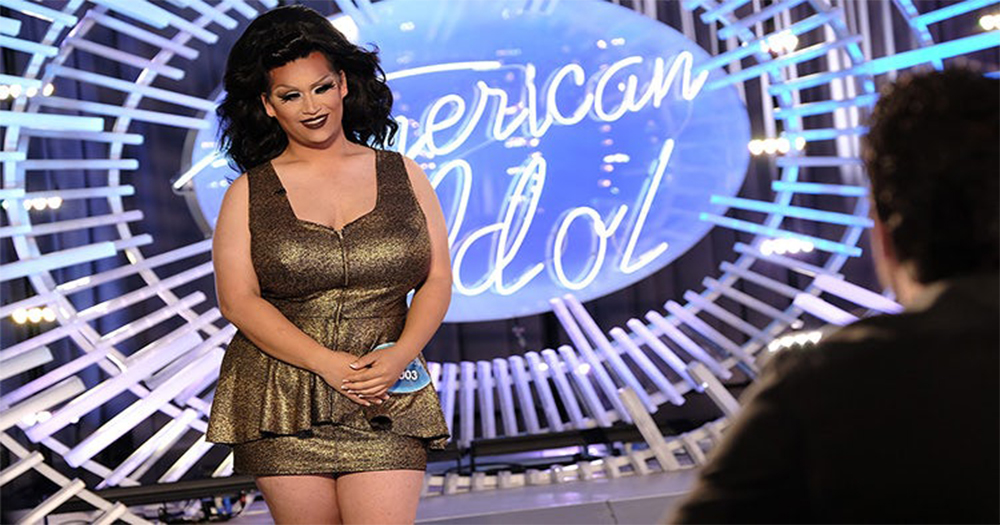 American Idol contestant Adam Sanders dressed as drag queen Ada Vox