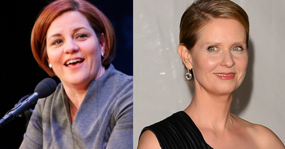 Cynthia Nixon is pictured on the right, Christine Quinn is pictured on the left
