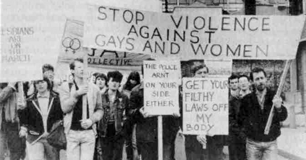 Archive image of the first Dublin Pride Protest march in response to Fairview murder of Declan Flynn