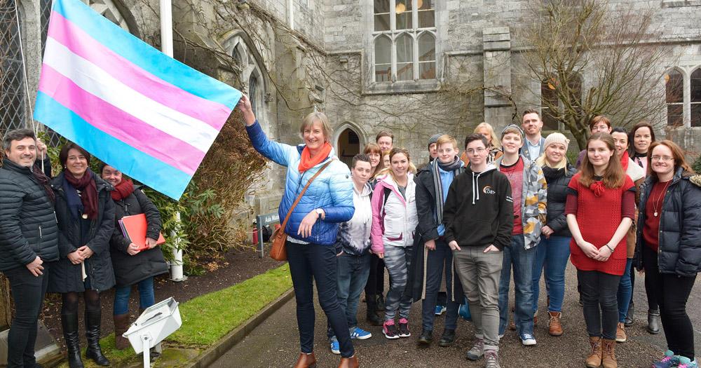 Flying the Transgender Pride Flag for Equality week at UCC