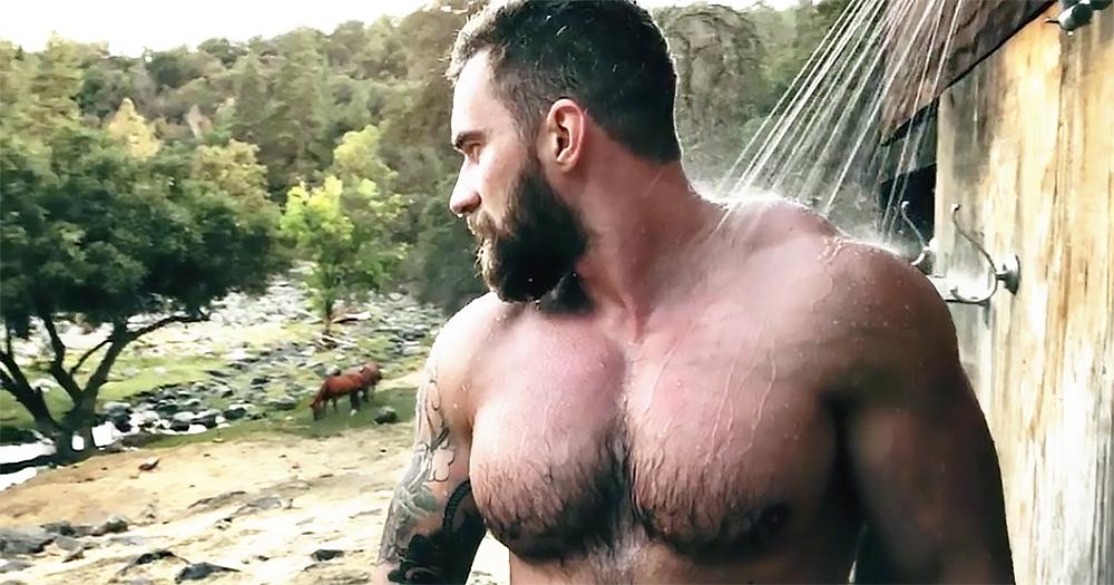 Instagram star Abramov Lex showering outdoor