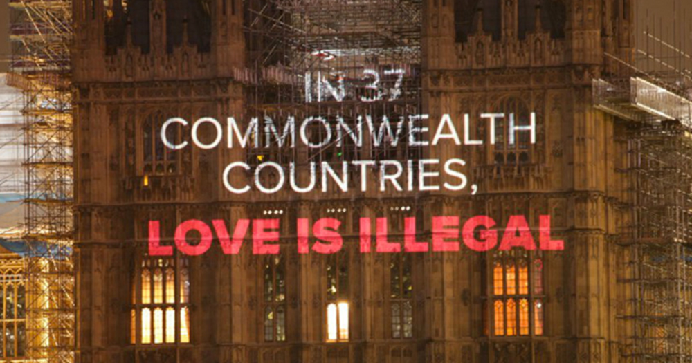 Buildings across London bear a message reading 'In 37 Commonwealth Countries Love Is Illegal'