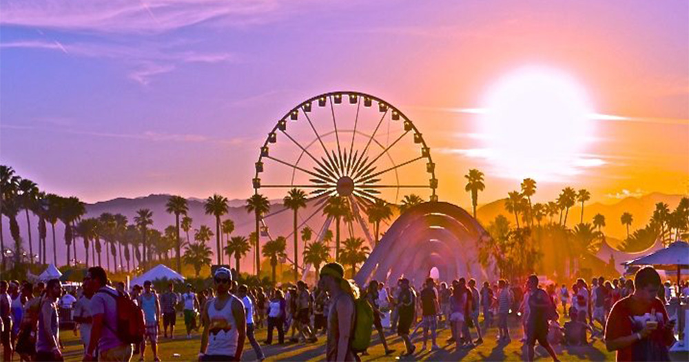 The Coachella Festival at sunset, a Ferris wheel in the background