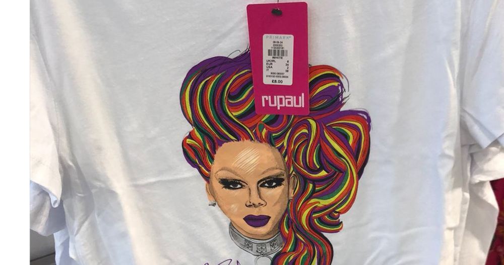 A painting of drag queen RuPaul on a Primark t-shirt