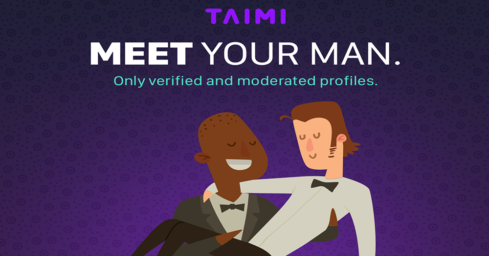 Cartoon image for dating app Taimi, a man carrying another man