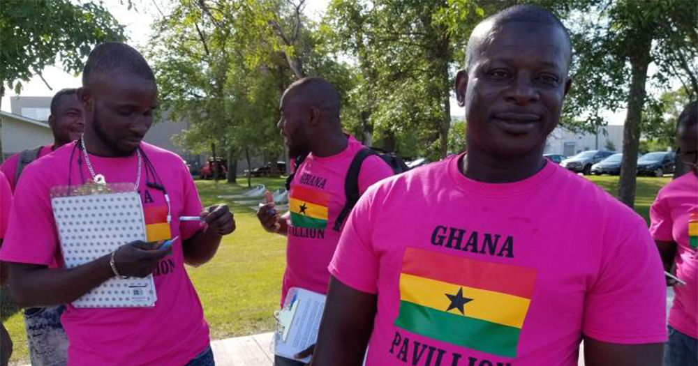 A group of Ghana LGBT campaigners wearing pink t-shirts