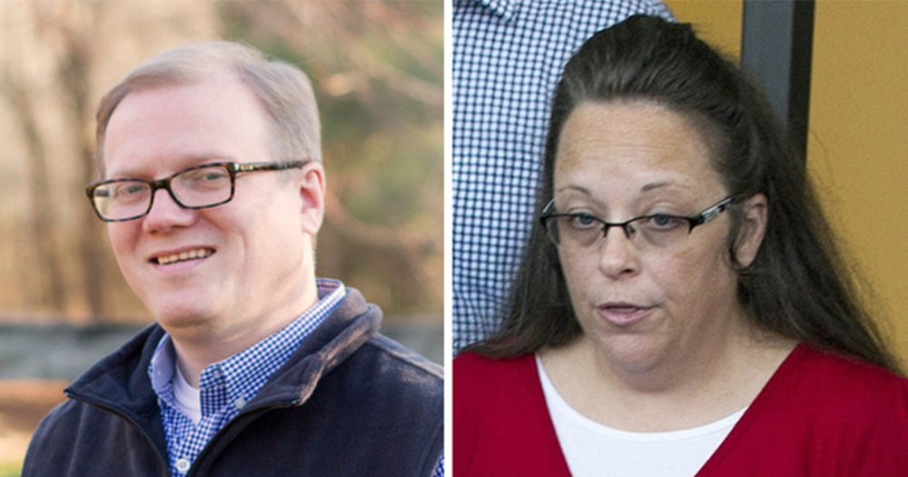 Split screen of Kim Davis and the gay man she dined a marriage licence, David Ermold