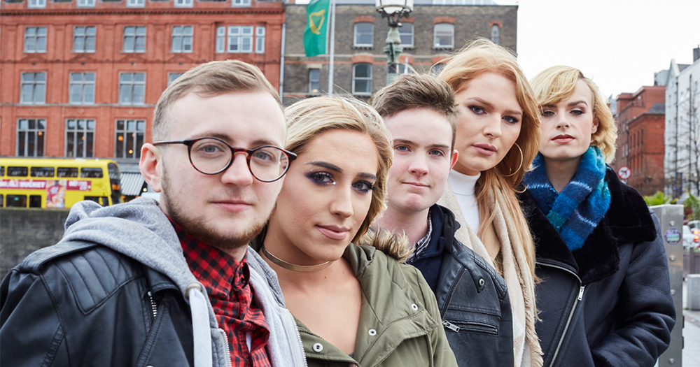 The 5 young trans people from RTÉ 2 show 'My Tans Life' standing on Capel Street Bridge