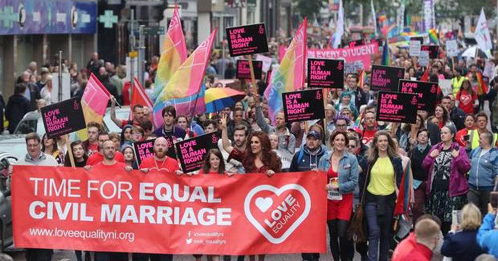 Protesters march for gay marriage in Belfast before the marriage bid blocked