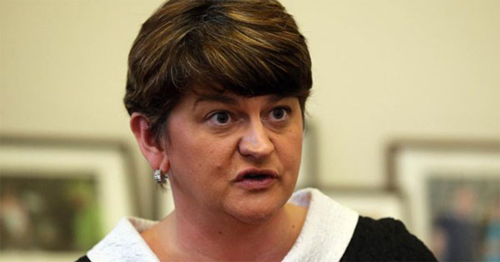 A close up of Arlene Foster speaking in an interview