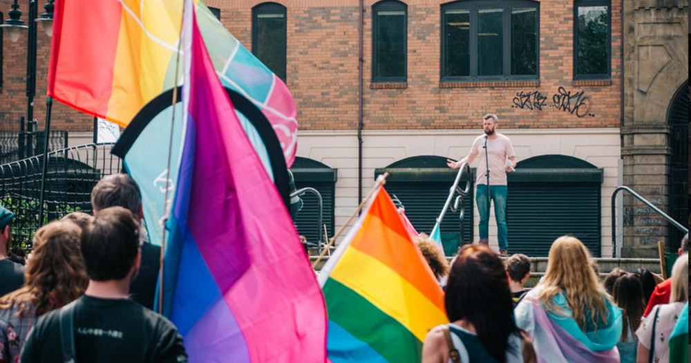 speakers takes the stage at Trans Pride Belfast