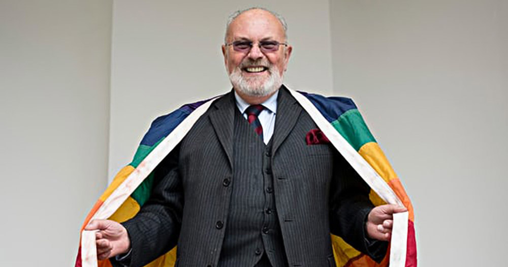david norris pictured with a pride flag, Norris was instrumental in the decriminlisation of homosexuality which the government is now planning to pardon thise prosecuted