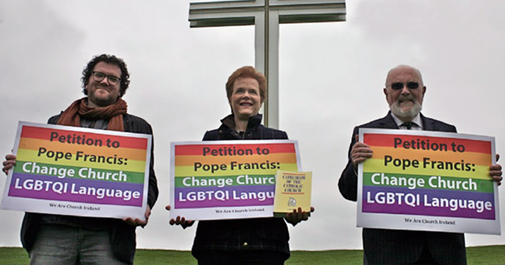 WAC lobbyists stand at the Papal Cross where Pope will visit