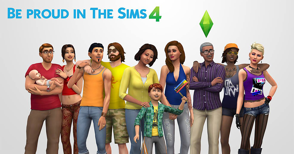 An animated image of The Sims 4 app featuring a variety of straight and LGBT+ families