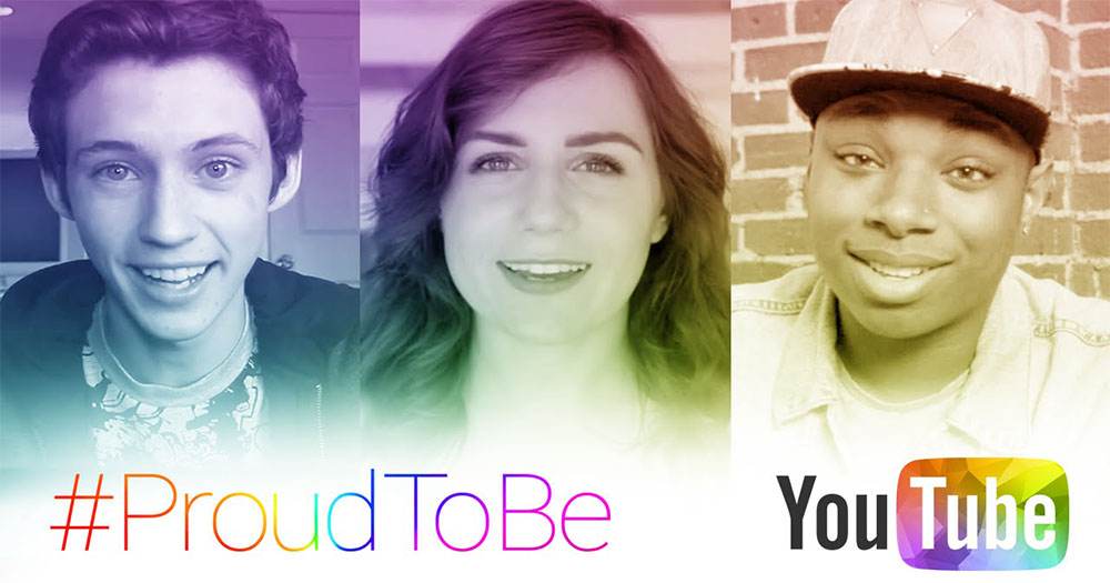 A screengrab from the YouTube Pride video featuring three LGBT+ YouTubers