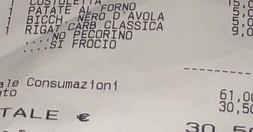 A restaurant bill in Italian