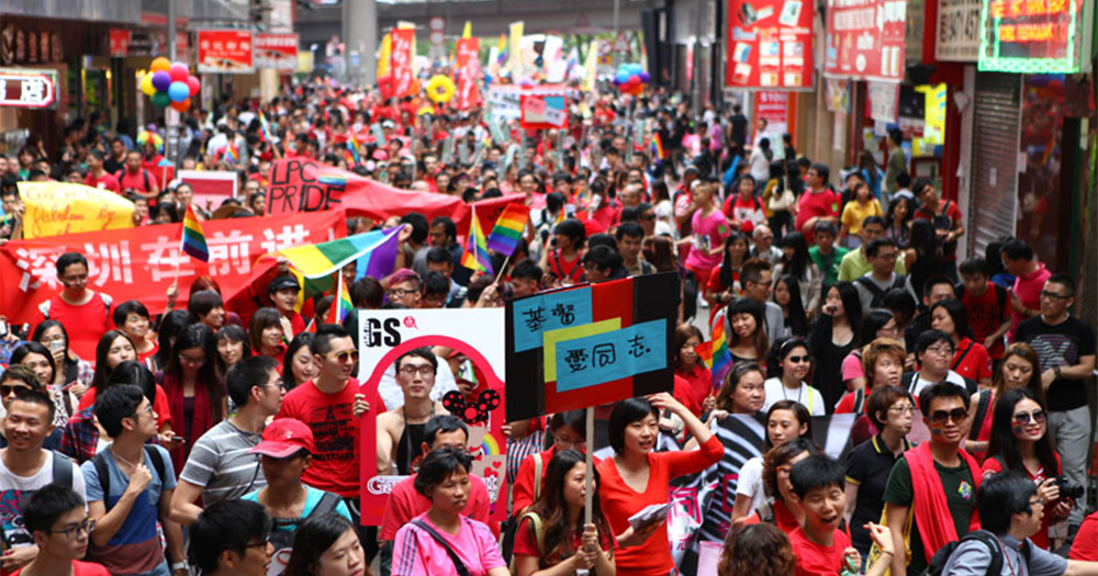 A large crowd in Hong Kong marching for gay rights