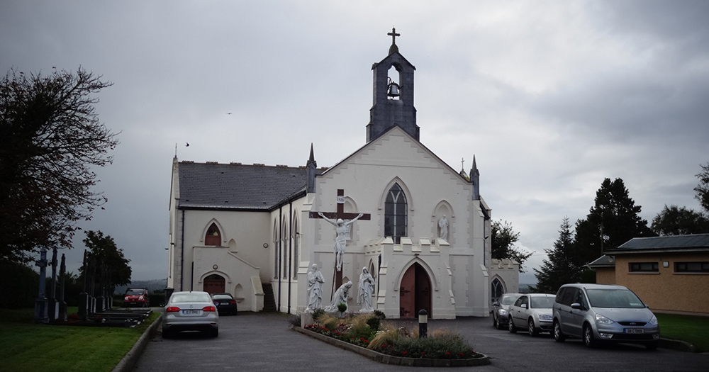 Exterior of St Bartholomew's church in Kildorrery where a priest who was caught on video performing a sex act with another man on the altar