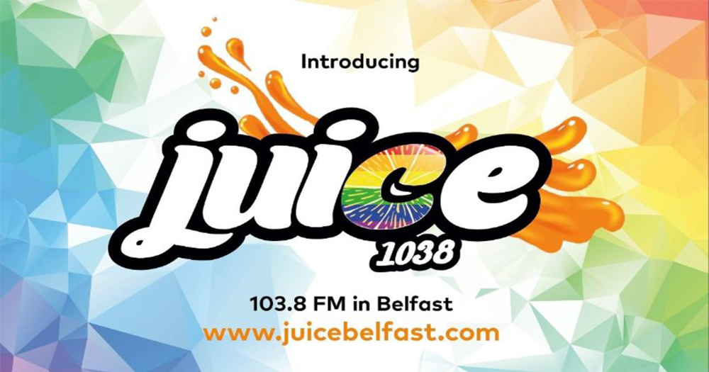 The logo for Juice1038 radio station, the title surrounded by bursts of colour