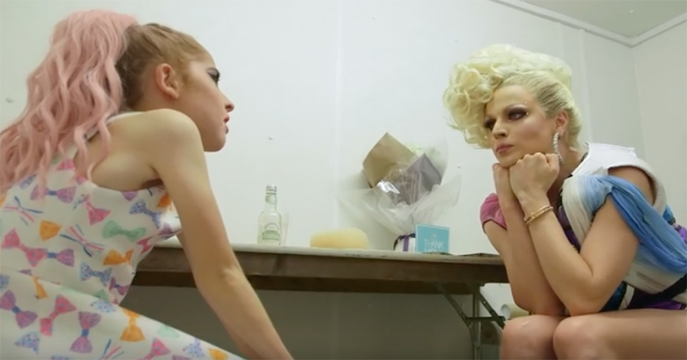 11 year-old drag queen Leo Noakes speaks to adult drag queen Courtney Act in her dressing room