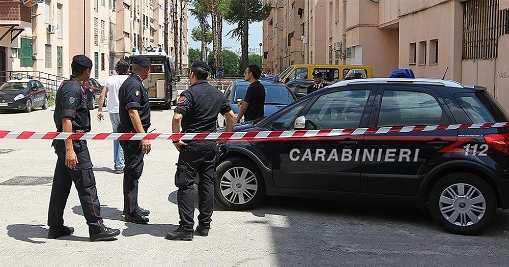 Italian Carabinieri at a crime scene - the story reported where a man was raped by 12 gay men was exposed as fake news