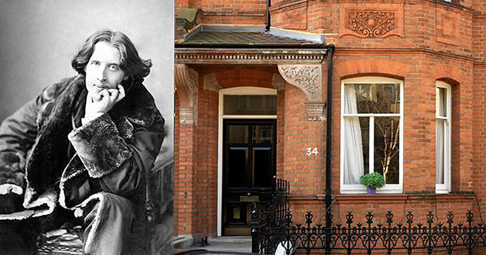 Oscar Wilde next to an image of his London home