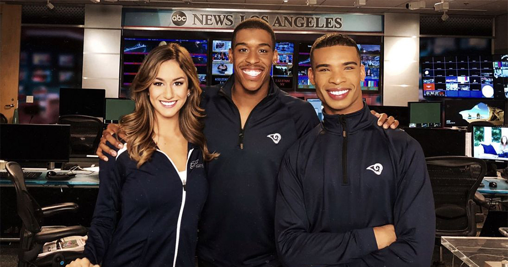 Cheerleaders Emily Leibert, Quinton Peron and Napoleon Jinnies smile for a photo in the ABC news studios