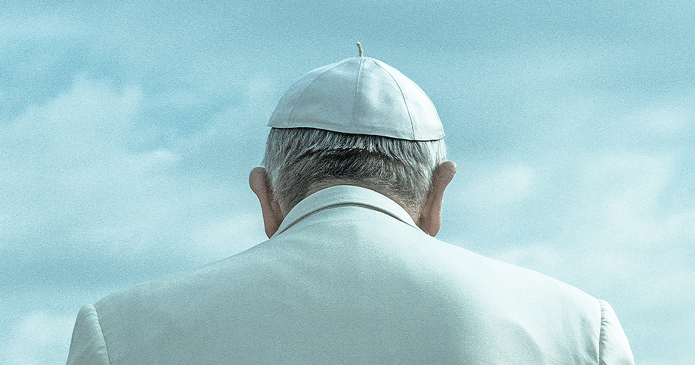 Back of Catholic Pope's head