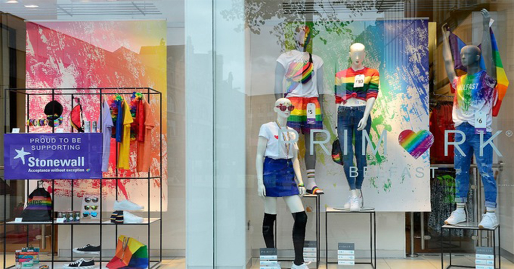 The window display of Penneys in Belfast featuring mannequins dressed in Pride themed clothing