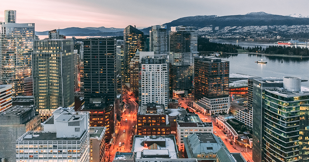 An aerial photo of the city of Vancouver