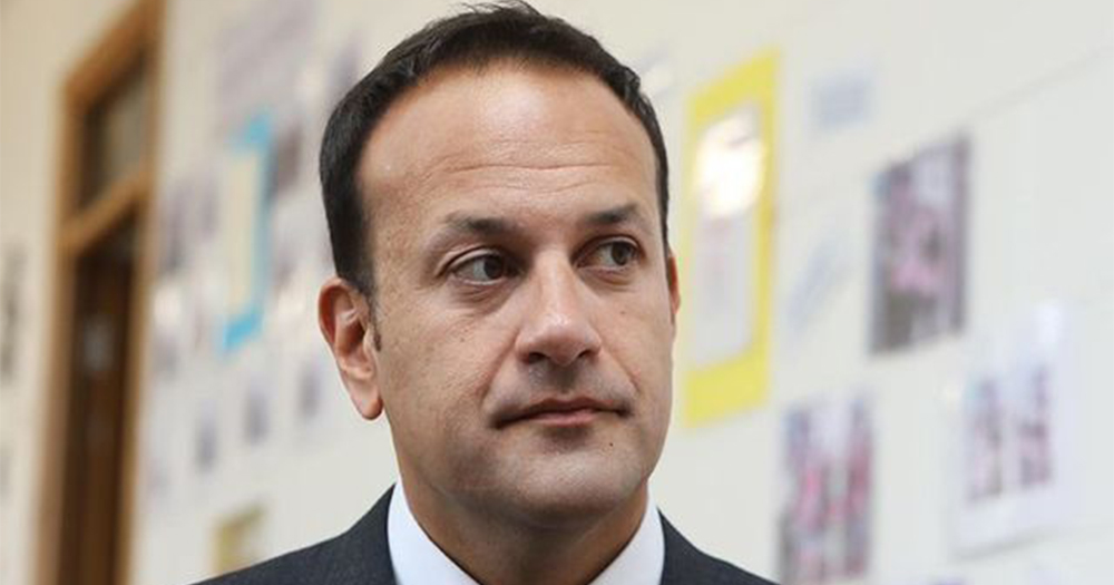 Close up of Leo Varadkar in a school corridor looking non plussed