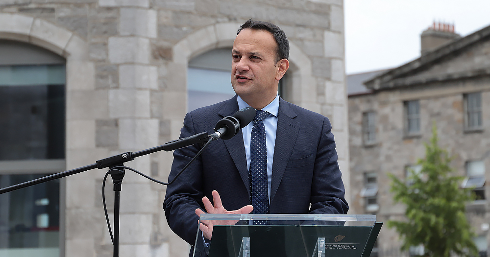 varadkar is pictured giving a speech.
