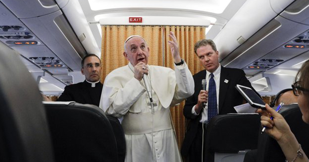 Pope during press conference on his way back to the Vatican